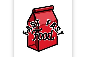 Color vintage fast food emblem