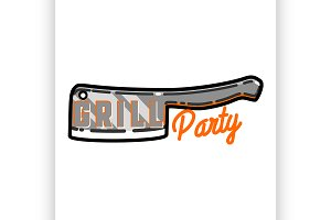 Color vintage grill party emblem