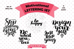 100% Vector Motivation Lettering Set