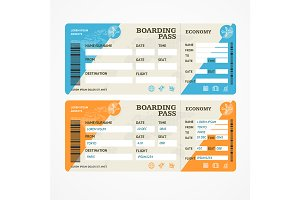 Boarding Pass Tickets Airplane Set.