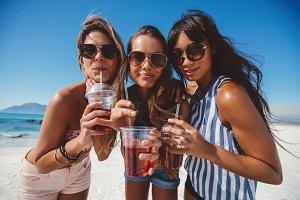 Girlfriends drinking ice tea