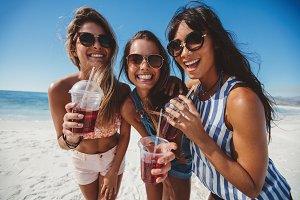 Three young women enjoying
