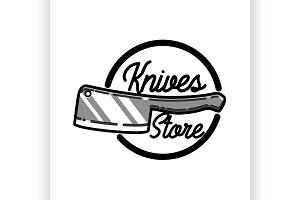 Color vintage knives store emblem