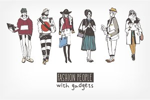 Fashion people with gadgets