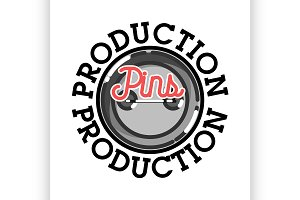 Color vintage pins production emblem