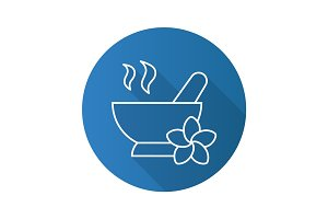 Spa salon mortar and pestle. Flat linear long shadow icon