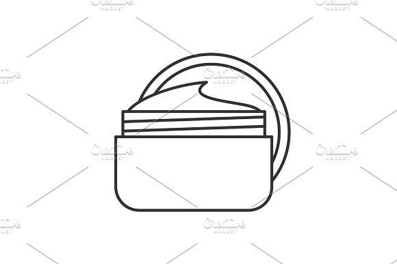 Face Cream Jar Linear Icon