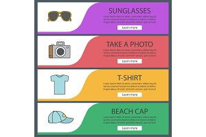 Summer items web banner templates set