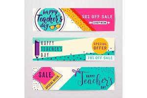 Vector illustration of color happy teachers day sale inscription design template