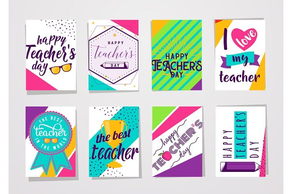 Vector Illustration Of Color Happy Teachers Day Lettering Typography Card Set