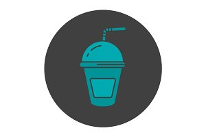 Refreshing soda drink glyph color icon