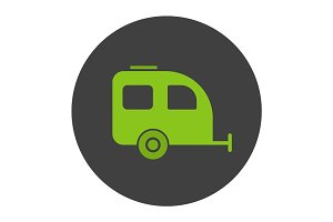 Camping trailer glyph color icon