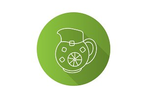 Lemonade jug flat linear long shadow icon