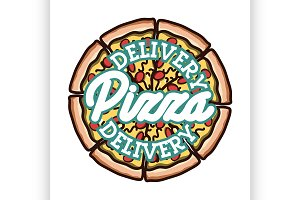 Color vintage pizza delivery emblem