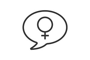 Conversation about women linear icon
