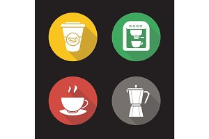Coffee flat design long shadow glyph icons set