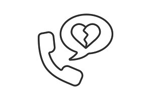 Breakup by phone linear icon