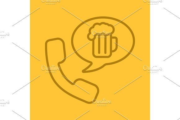 Beer Order By Phone Color Linear Icon
