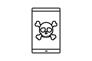 Smartphone virus linear icon