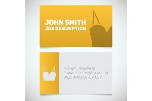 Business card print template with women's top logo