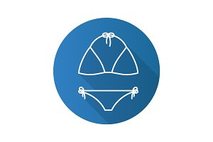 Swimsuit flat linear long shadow icon