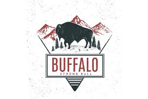 Old retro logo with bull buffalo