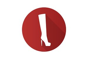 Women's high boot. Flat design long shadow glyph icon