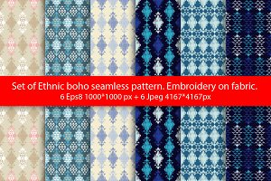 Set of Ethnic boho seamless pattern.