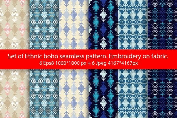 Set Of Ethnic Boho Seamless Pattern