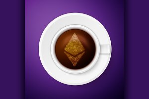 Cup of coffee with ethereum symbol