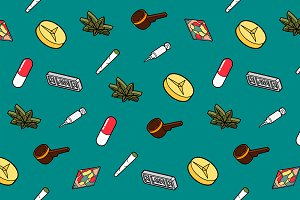 Drugs flat outline isometric pattern