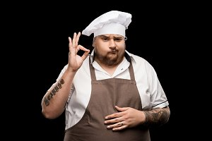 professional chef in hat and apron
