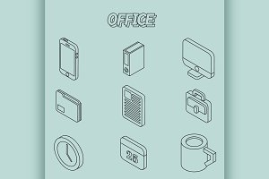 Office flat outline isometric set