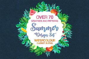 Watercolor Summer Design Set