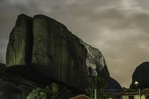 Meteora in Greece in the night