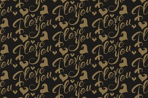 i love you seamless pattern