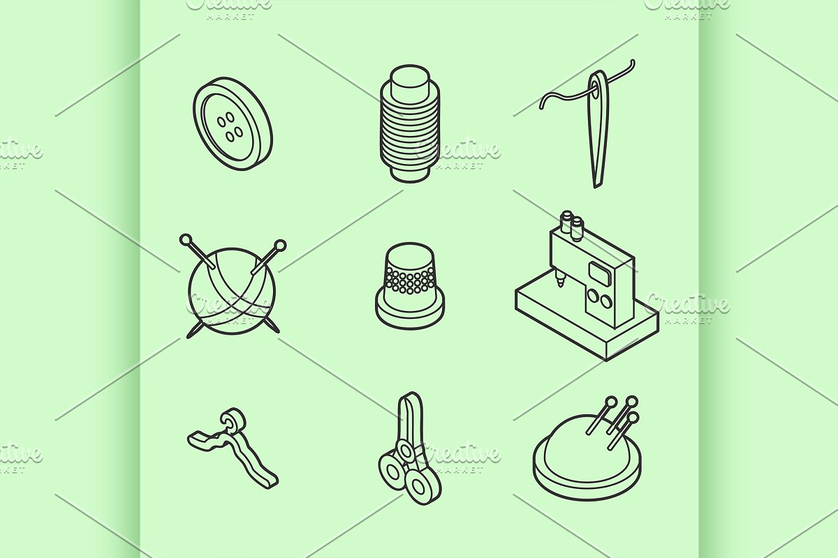 Sewing flat outline isometric icons