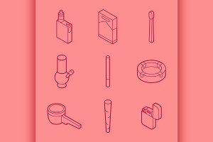 Smoking flat outline isometric set