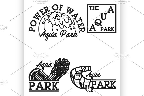 Color Vintage Aquapark Emblems