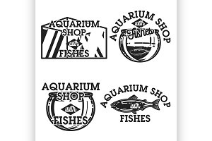 Color vintage aquarium shop emblems