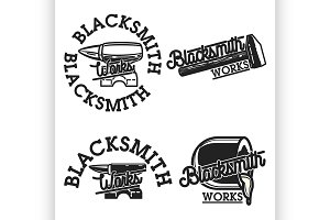 Color vintage blacksmith emblems