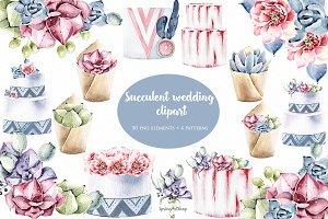 Boho succulent wedding clipart