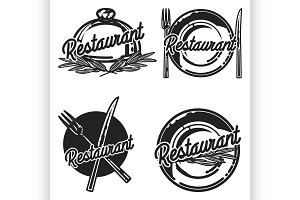 Color vintage restaurant emblems