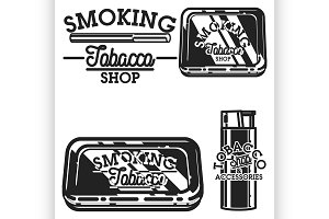 Color vintage tobacco shop emblems
