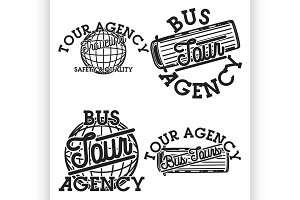 Color vintage tour agency emblems