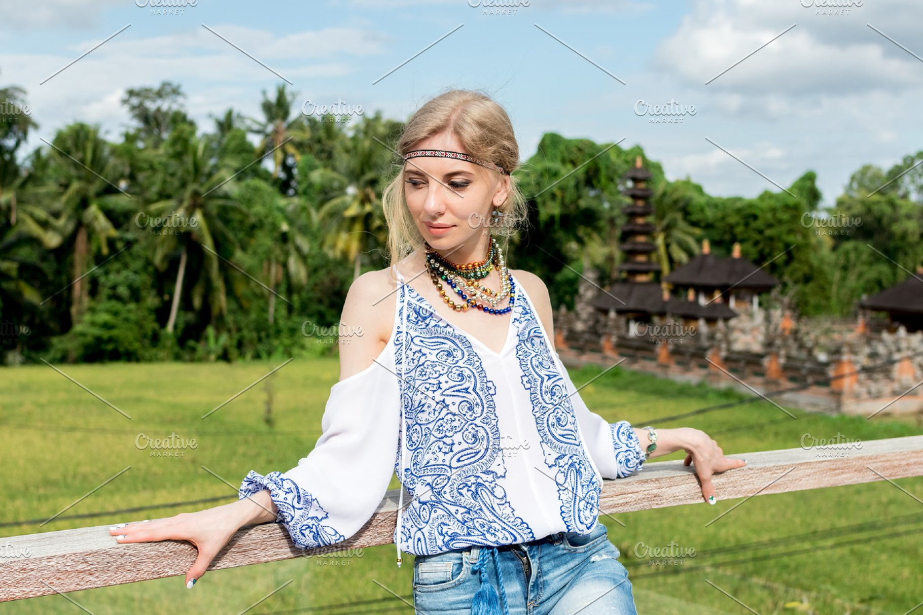 Attractive Young Woman In Ethnic Style Look Posing Near The Balinese Temple Portrait Tropical Island Bali Luxury Resort Villa Indonesia