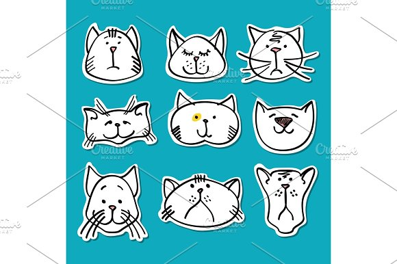 Cute Doodle Cats Stickers Collection