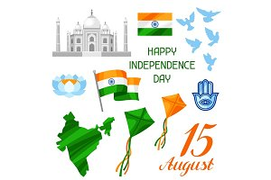 India Independence Day set of objects. Celebration 15 th of August