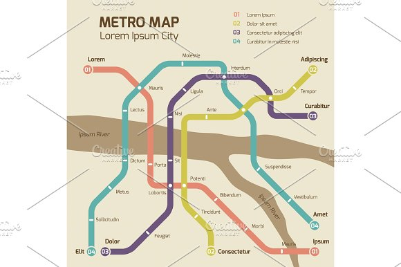 Vintage Colors Subway Map Vector Concept