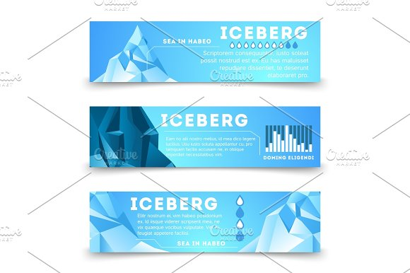 Nature Information Banners Template With Iceberg